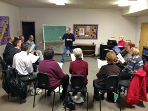 Choir Rehearsal with Kim Childs driecting 2-13-13